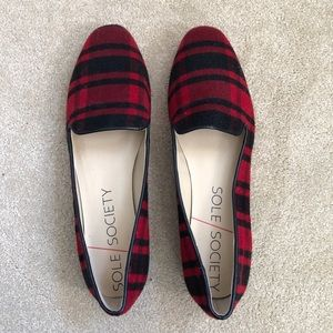 Sole Society Red Plaid Loafers/Flats/Shoes